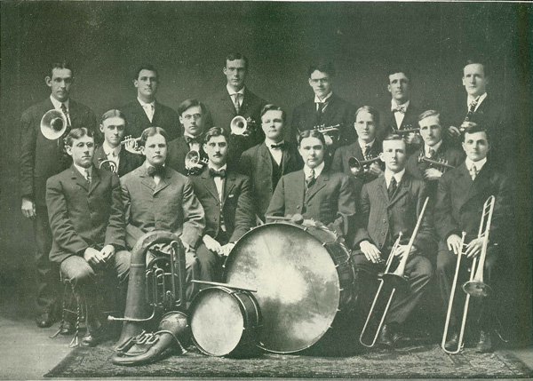 Members of the 1907 Normal Band with their instruments