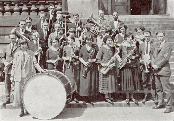 Members of the 1923-24 Normal Band pose with their instruments