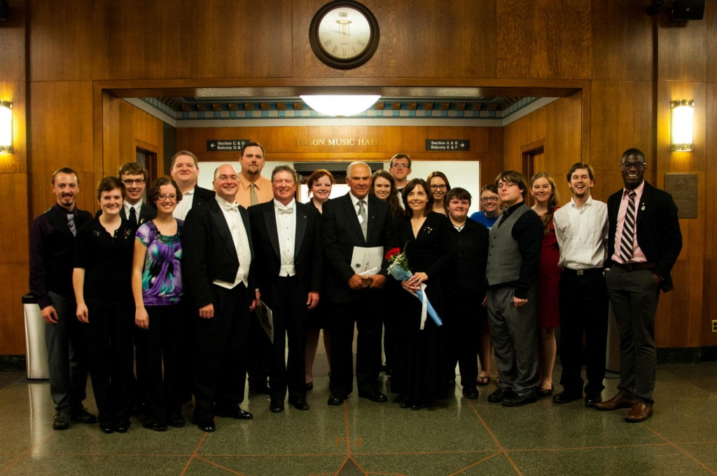 Honorary initiates Wakefield, Smith, and Wagoner with the chapter. Photo by Joe Ybarra.